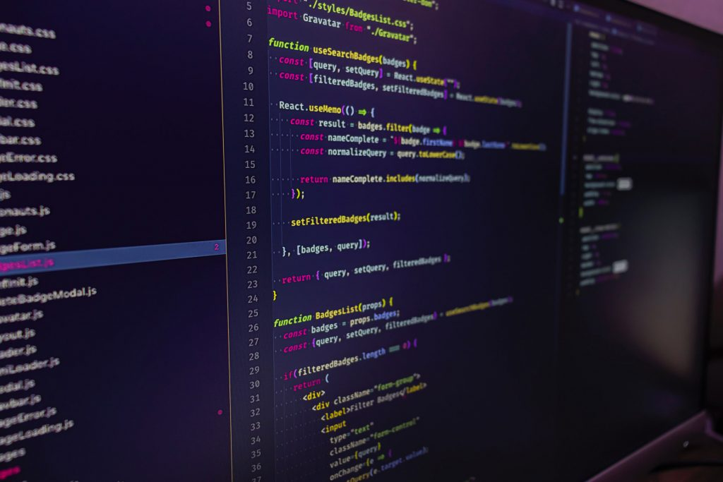 Screen with React.js Code